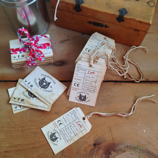 aged tags and business cards